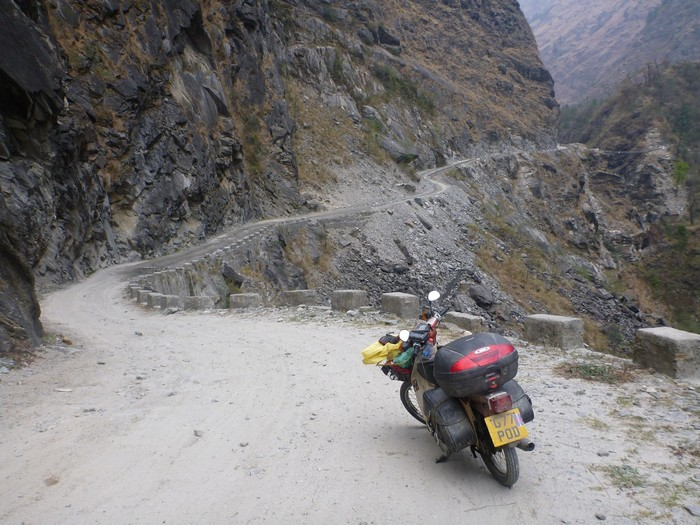 Riding through the mountains of Nepal